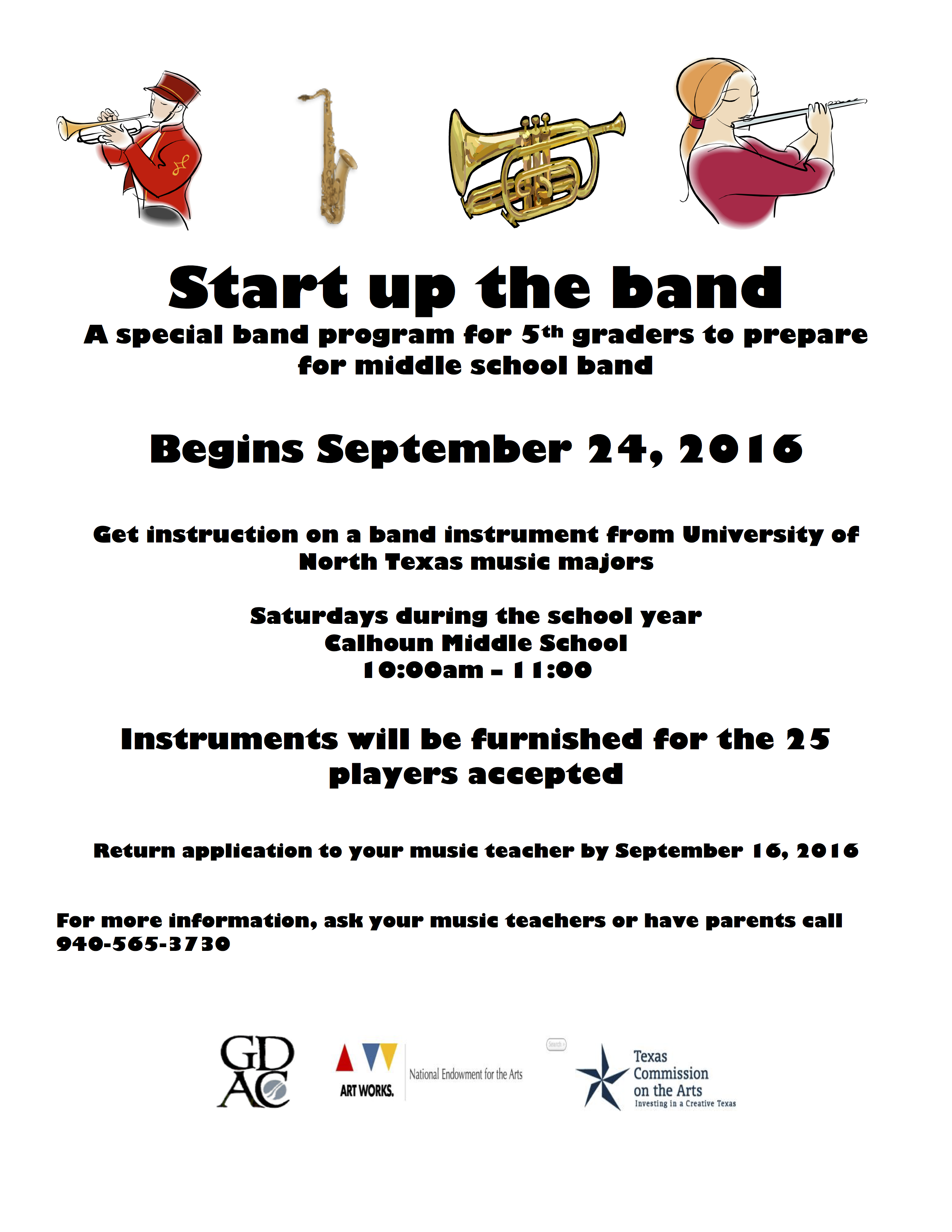 Start Up the Band Fall 2106 poster